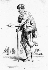 L0019531 A man with a wooden leg begging for alms